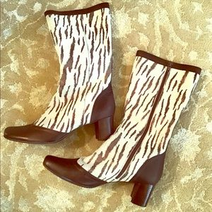 Leather Animal Print Unique White & Brown Boots